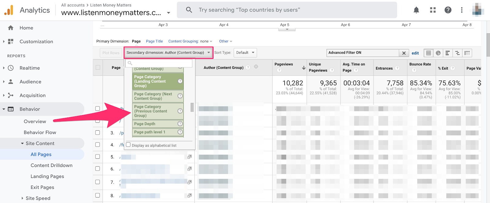 finding the content grouping parameter by author in google analytics