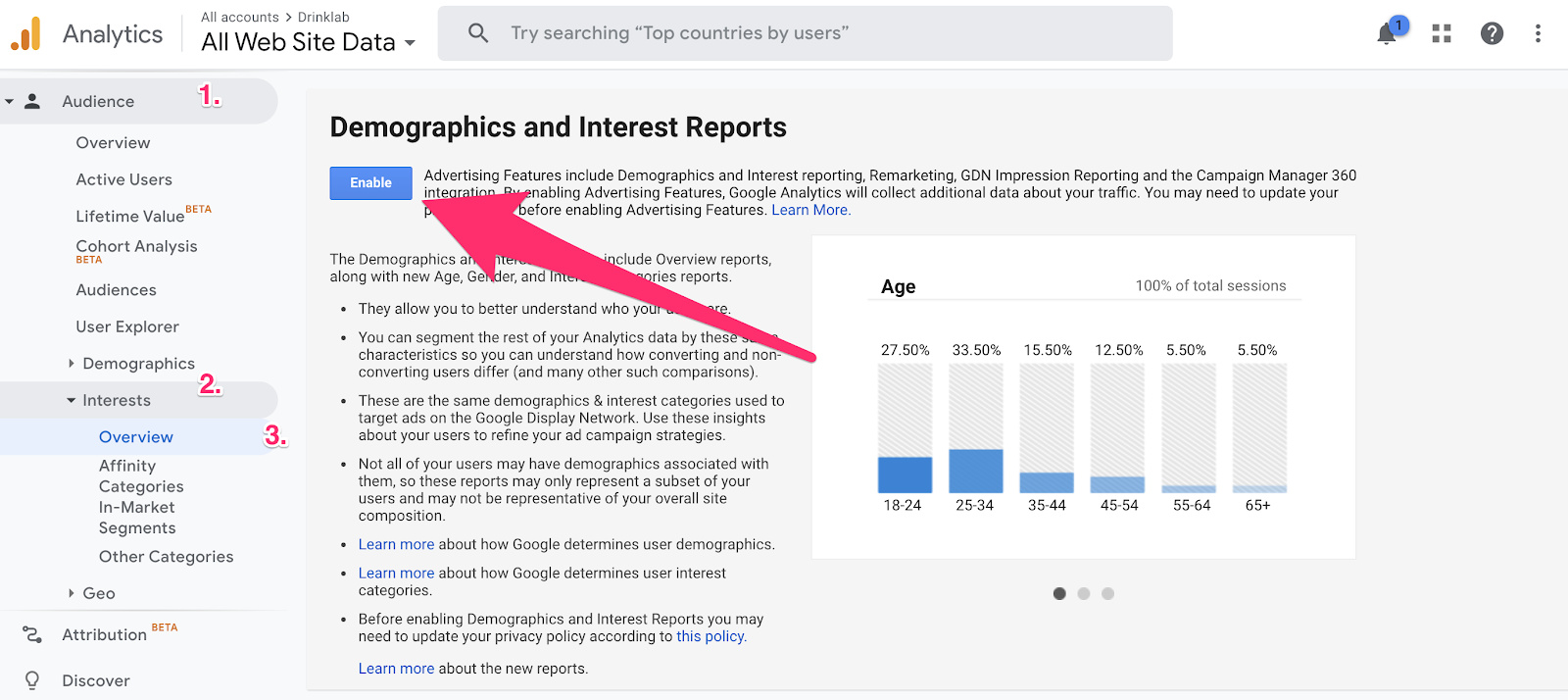 enabling demographics and interest reports